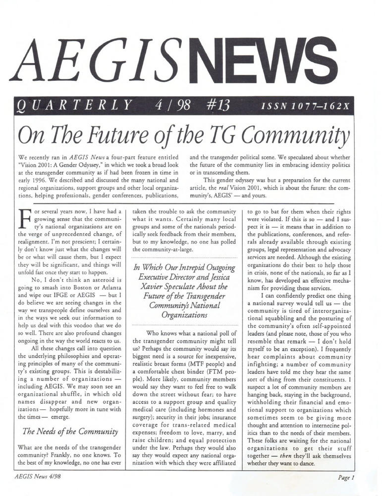 Download the full-sized PDF of AEGIS News, No. 13 (April, 1998)