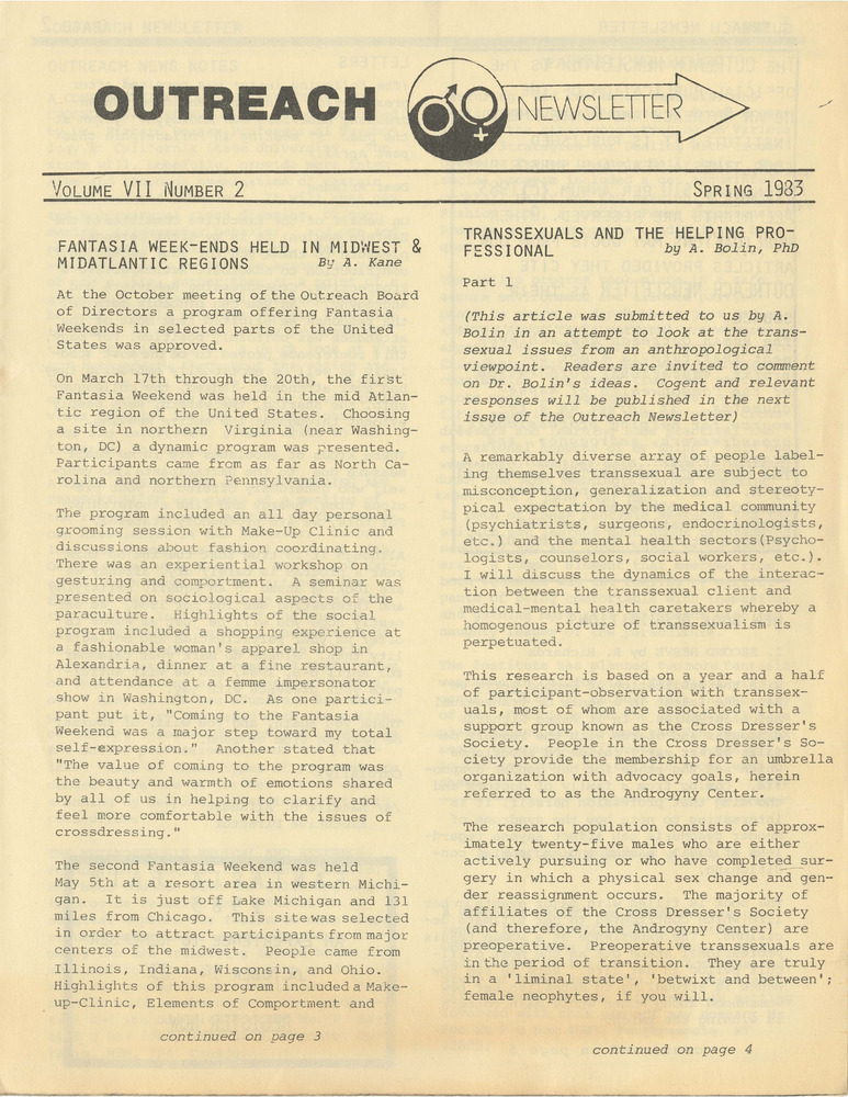 Download the full-sized PDF of Outreach Newsletter Vol. 7 No. 2 (Spring 1983)