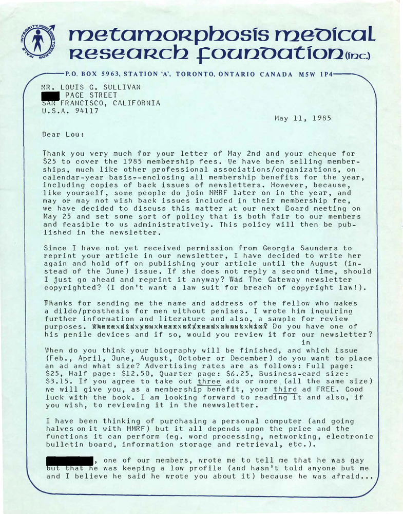 Download the full-sized PDF of Correspondence from Rupert Raj to Lou Sullivan (May 11, 1985)