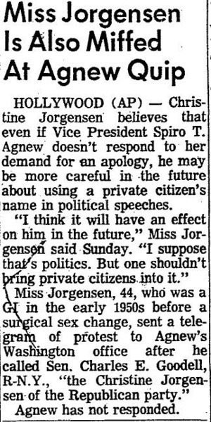 Download the full-sized image of Miss Jorgensen Is Also Miffed at Agnew Quip