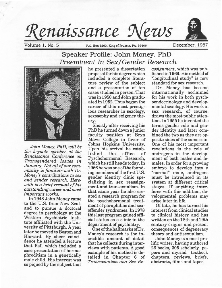 Download the full-sized PDF of Renaissance News, Vol. 1 No. 5 (December, 1987)
