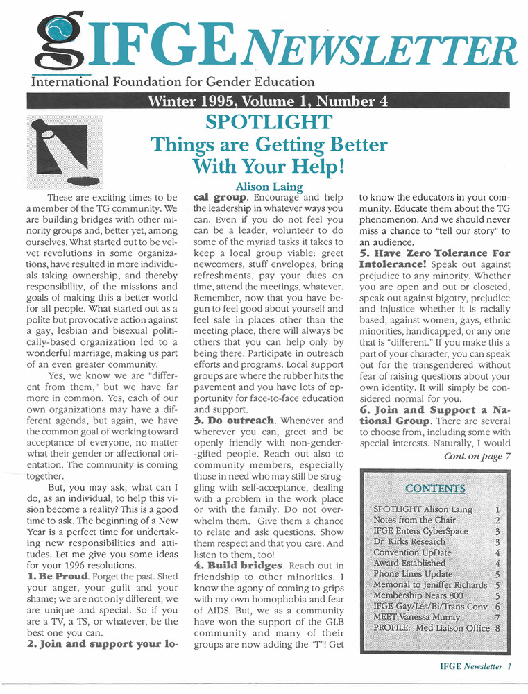 Download the full-sized PDF of IFGE Newsletter Vol. 1 No. 4 (Winter, 1995)