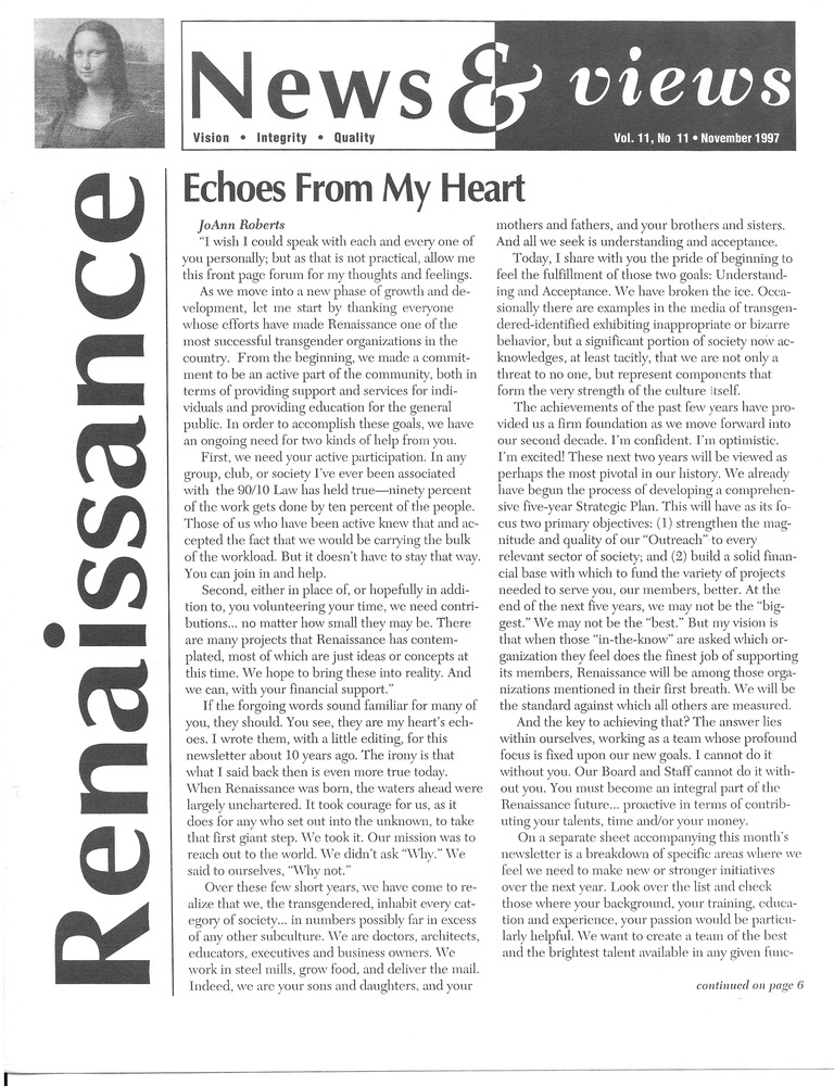 Download the full-sized PDF of Renaissance News & Views Vol. 11, No. 11 (November, 1997)