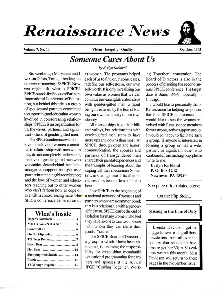 Download the full-sized PDF of Renaissance News, Vol 7. No. 10 (October 1993)