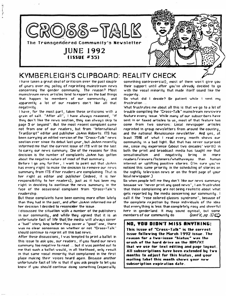 Download the full-sized PDF of Cross-Talk: The Transgender Community News & Information Monthly, No. 35 (June, 1992)