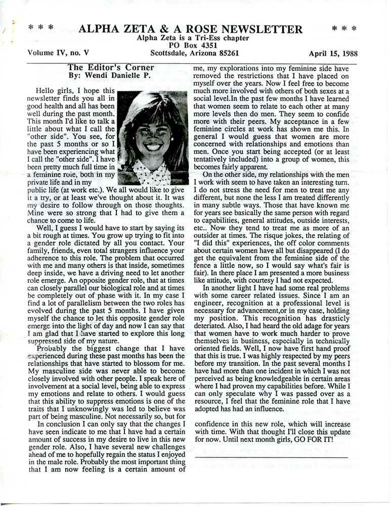 Download the full-sized PDF of Alpha Zeta & A Rose Newsletter Vol. 4 No. 5 (April 15, 1988)