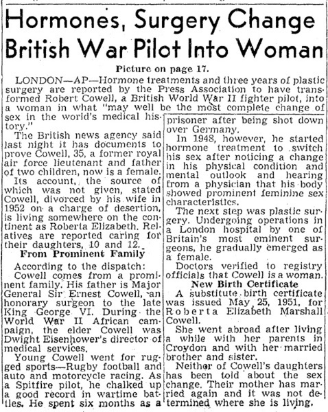 Download the full-sized image of Hormones, Surgery Change British War Pilot Into Woman