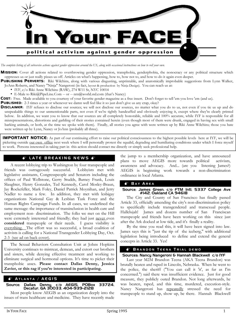 Download the full-sized PDF of In Your Face No. 1 (Spring 1995)