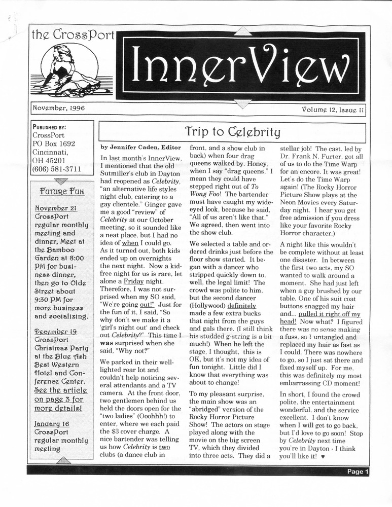 Download the full-sized PDF of Cross-Port InnerView, Vol. 12 No. 11 (November, 1996)