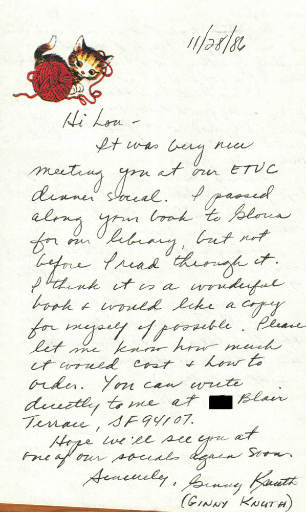 Download the full-sized PDF of Correspondence from Ginny Knuth to Lou Sullivan (November 28, 1986)
