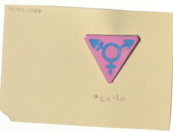 Download the full-sized PDF of Triangular Pink Pin with Blue Transgender Symbol