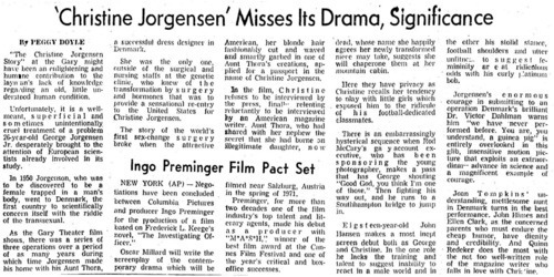 Download the full-sized image of 'Christine Jorgensen' Misses Its Drama, Significance