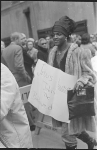 Download the full-sized image of Marsha P. Johnson at a Demonstration at St. Patrick's Cathedral, 1970