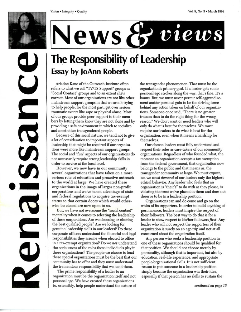 Download the full-sized PDF of Renaissance News & Views, Vol. 8 No. 3 (March 1994)