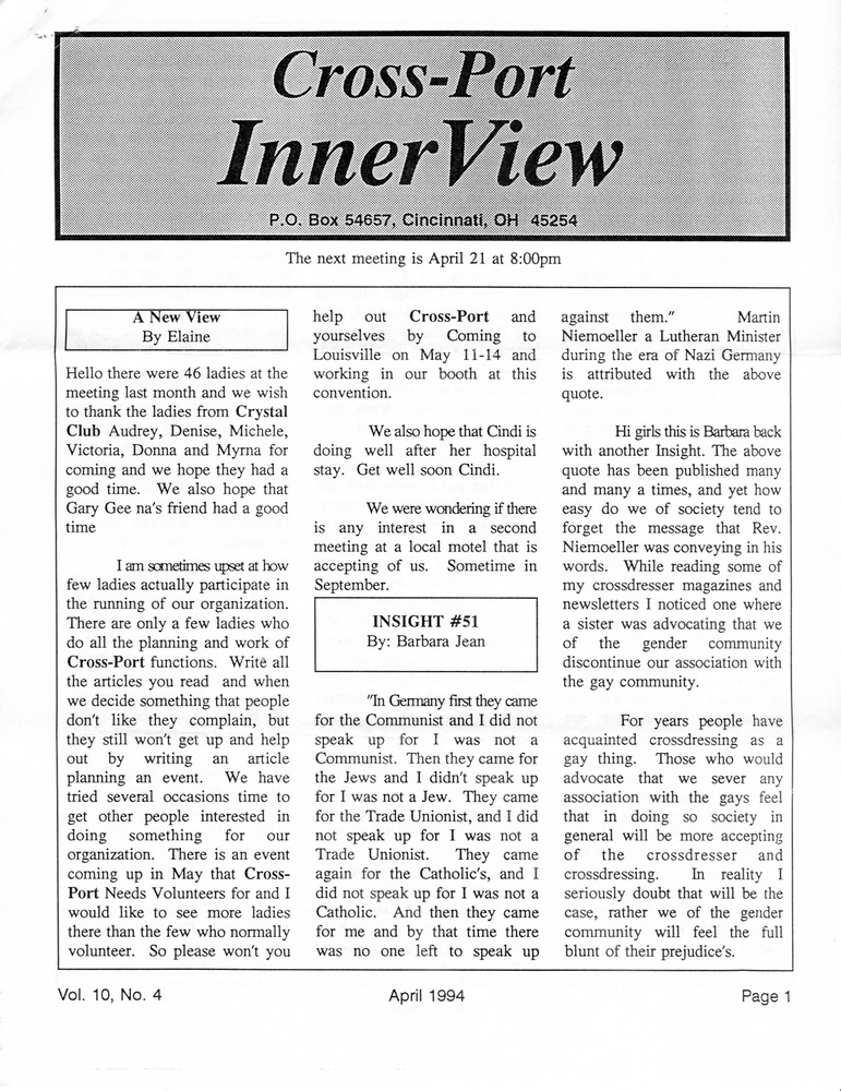 Download the full-sized PDF of  Cross-Port InnerView, Vol. 10 No. 4 (April, 1994)