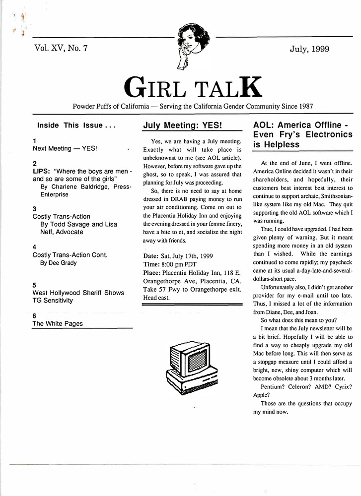 Download the full-sized PDF of Girl Talk, Vol. 15 No. 7 (July, 1999)