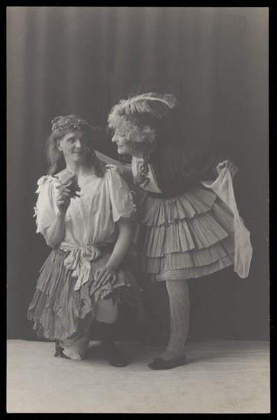 Download the full-sized image of Ralph Mellor in drag. Photographic postcard by L.S. Langfier, 192-.