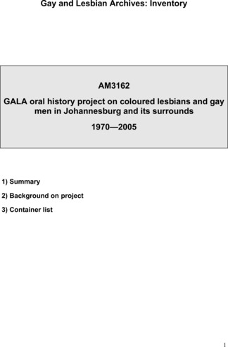 Oral history project on coloured lesbians and gay men in Johannesburg and its surrounds (2005)