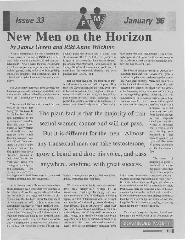 Download the full-sized PDF of Cross-Talk: The Gender Community's News & Information Monthly, No. 62 (December, 1994)