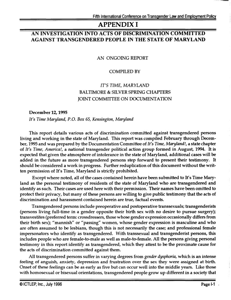 Download the full-sized PDF of Appendix I: An Investigation into Acts of Discrimination Committed Against Transgendered People in the State of Maryland