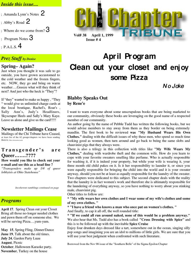 Chi Chapter Tribune Vol  38 Iss  04 (April, 1999) - Digital
