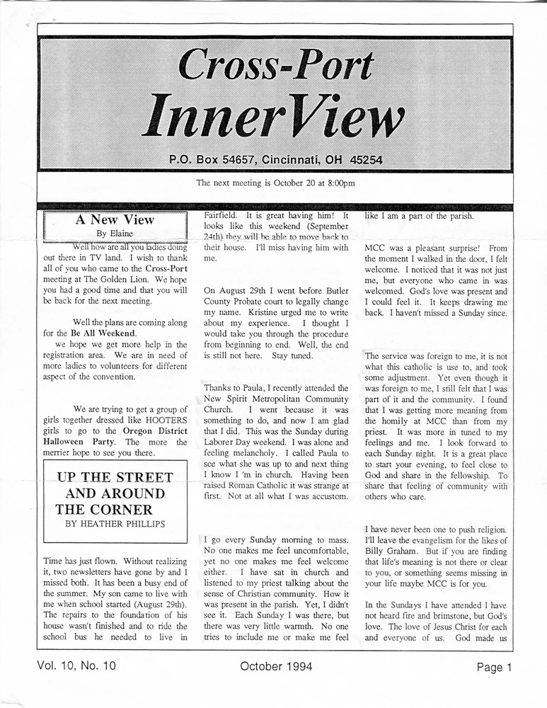 Download the full-sized PDF of Cross-Port InnerView, Vol. 10 No. 10 (October, 1994)