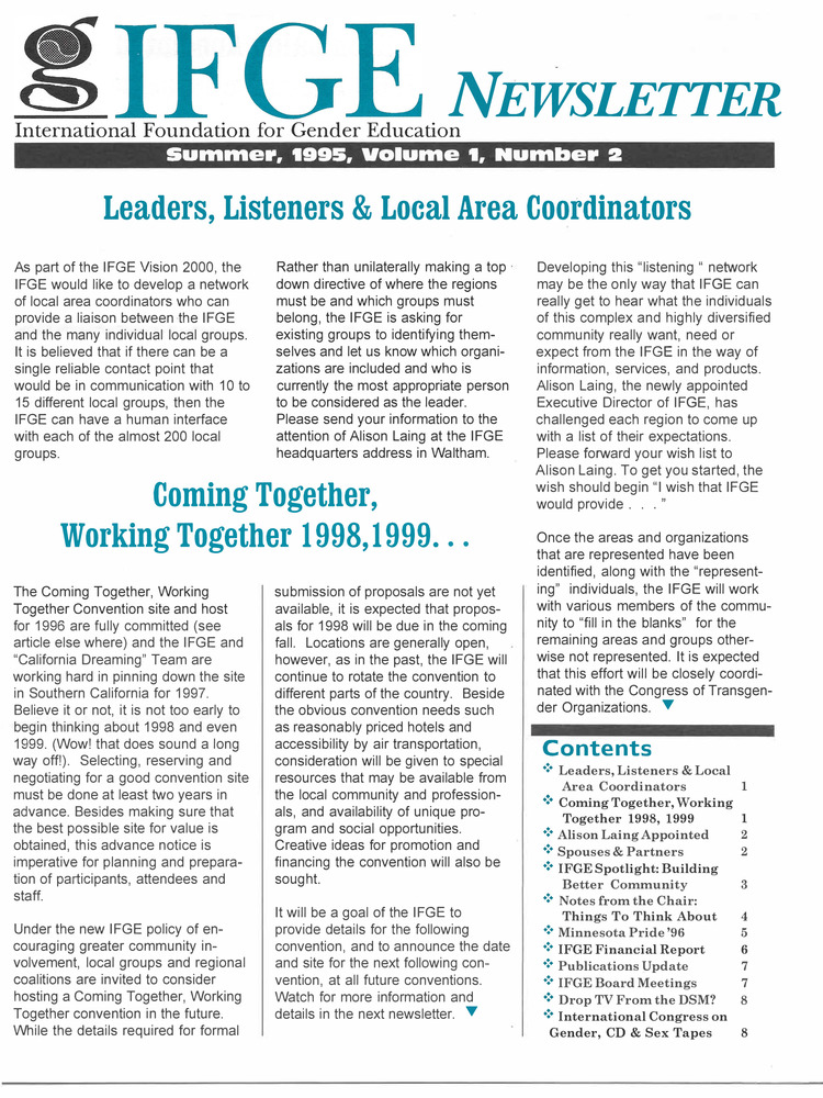 Download the full-sized PDF of IFGE Newsletter Vol. 1 No. 2 (Summer, 1995)