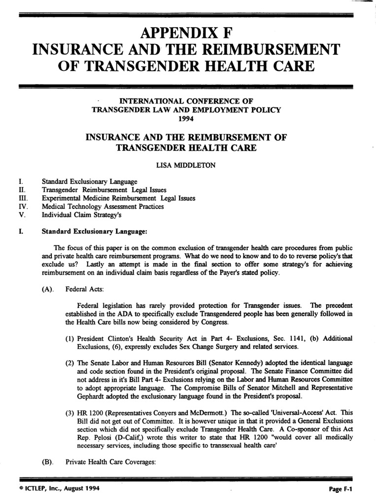 Download the full-sized PDF of Appendix F: Insuranace and the Resimbursement of Transgender Health Care