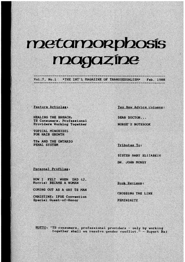 Download the full-sized PDF of Metamorphosis Magazine Vol. 7, No. 1 (February 1988)