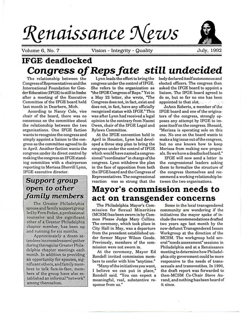 Download the full-sized PDF of Renaissance News, Vol. 6 No. 7 (July 1992)