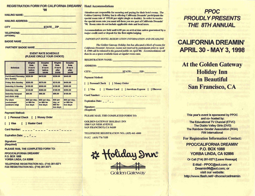 Download the full-sized PDF of PPOC Proudly Presents the 8th Annual California Dreamin' (April 30- May 3, 1998)