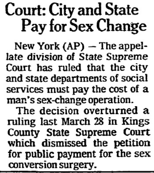 Download the full-sized image of Court: City and State Pay for Sex Change