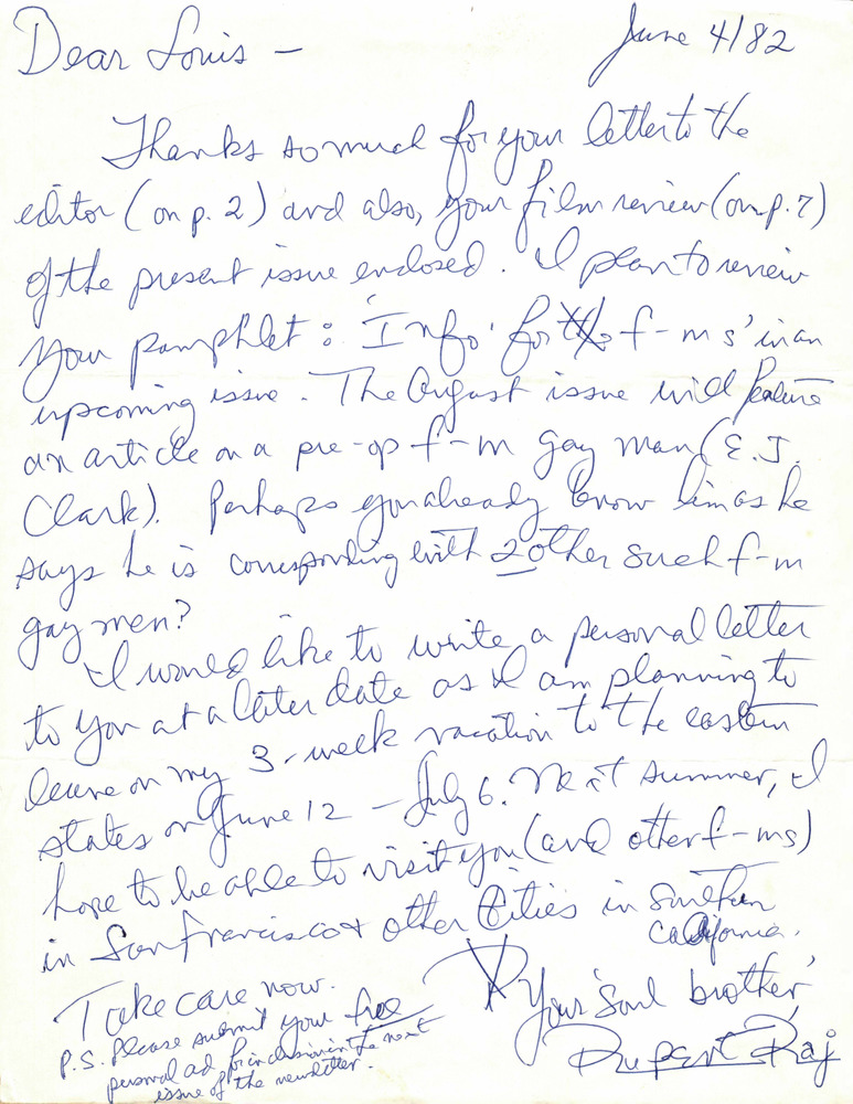 Download the full-sized PDF of Correspondence from Rupert Raj to Lou Sullivan (June 4, 1982)