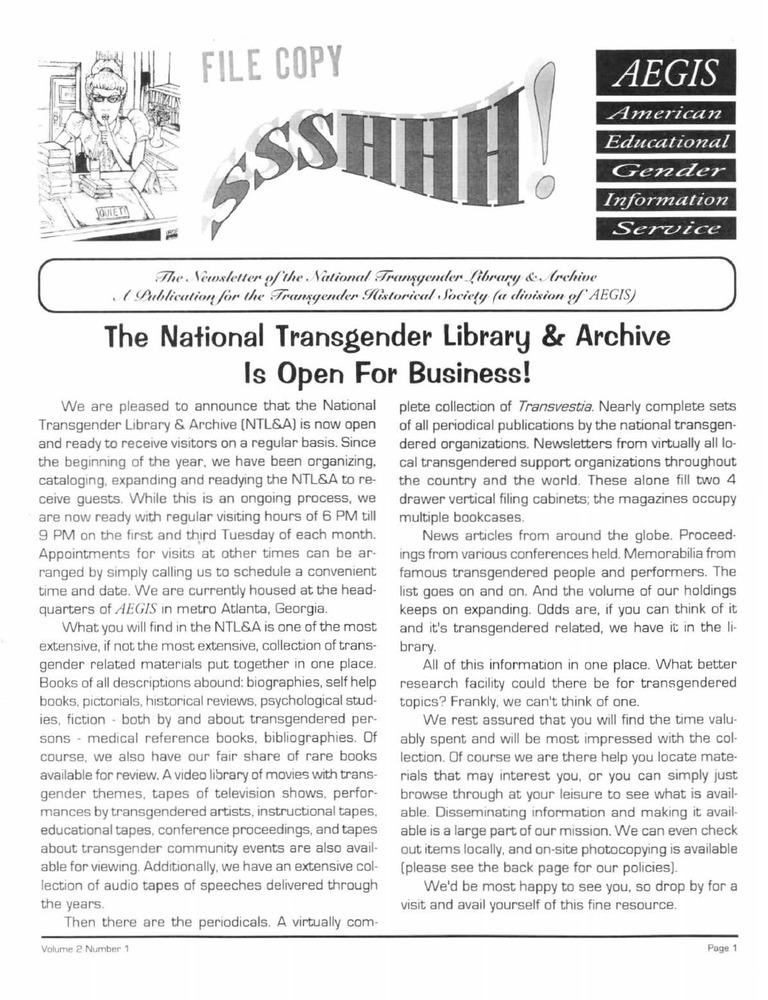 Download the full-sized PDF of Ssshhh!: The Newsletter of the National Transgender Library & Archive Vol. 2 No. 1 (1995)