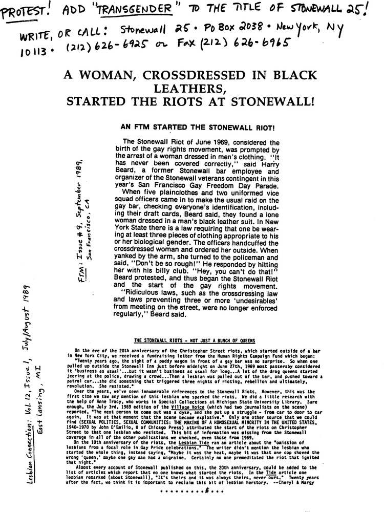 Download the full-sized PDF of A Woman, Crossdressed in Black Leathers, Started the Riots at Stonewall