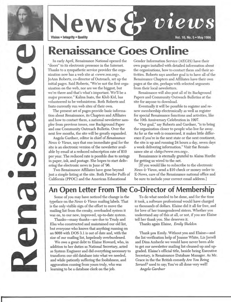 Download the full-sized PDF of Renaissance News & Views Vol. 10, No. 5 (May, 1996)