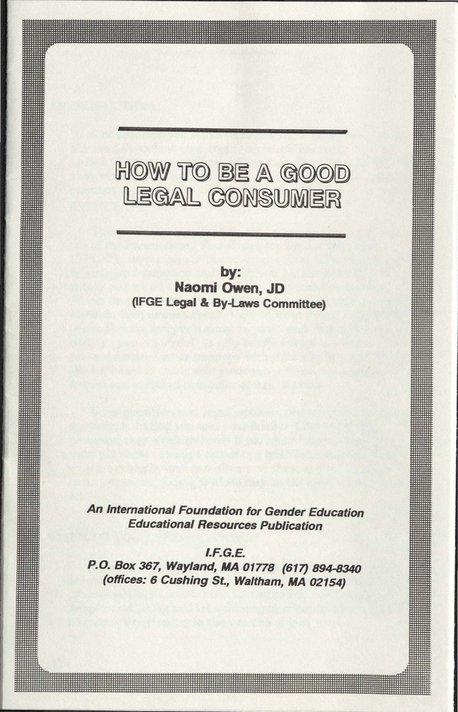 Download the full-sized PDF of How to be a Good Legal Consumer