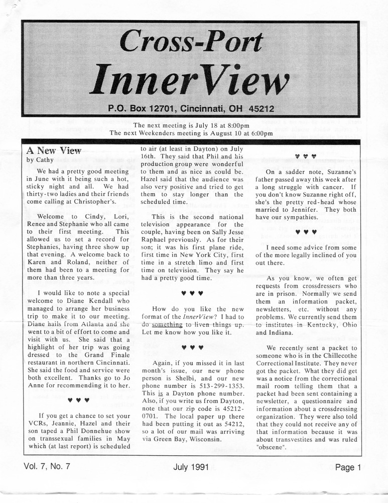 Download the full-sized PDF of Cross-Port InnerView, Vol. 7 No. 7 (July, 1991)