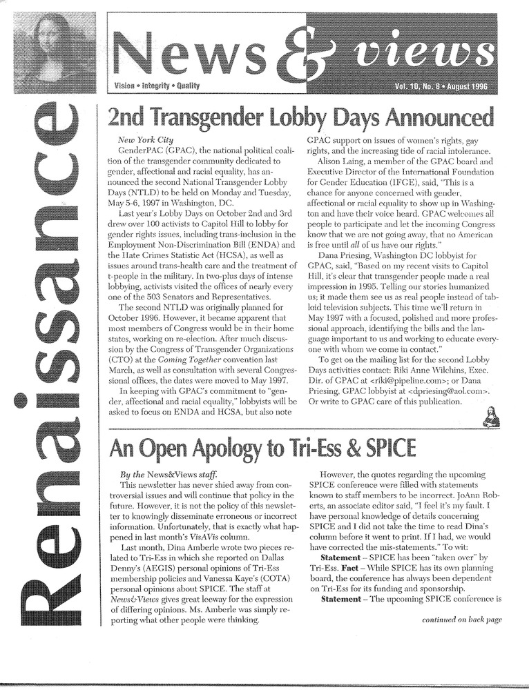 Download the full-sized PDF of Renaissance News & Views Vol. 10, No. 8 (August, 1996)