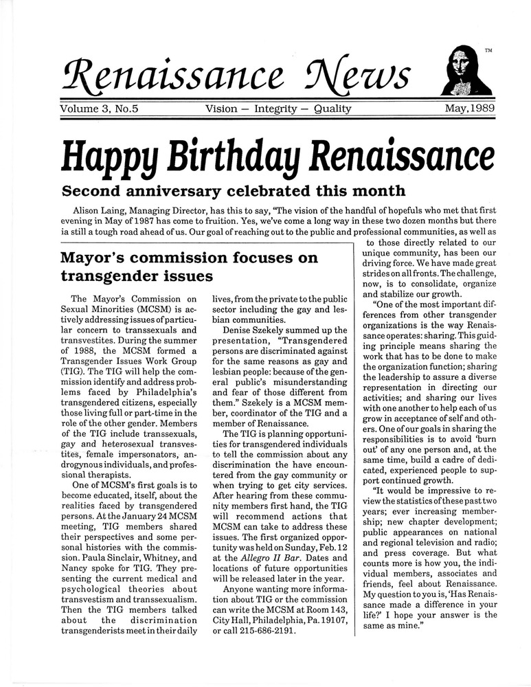 Download the full-sized PDF of Renaissance News, Vol. 3 No. 5 (May 1989)