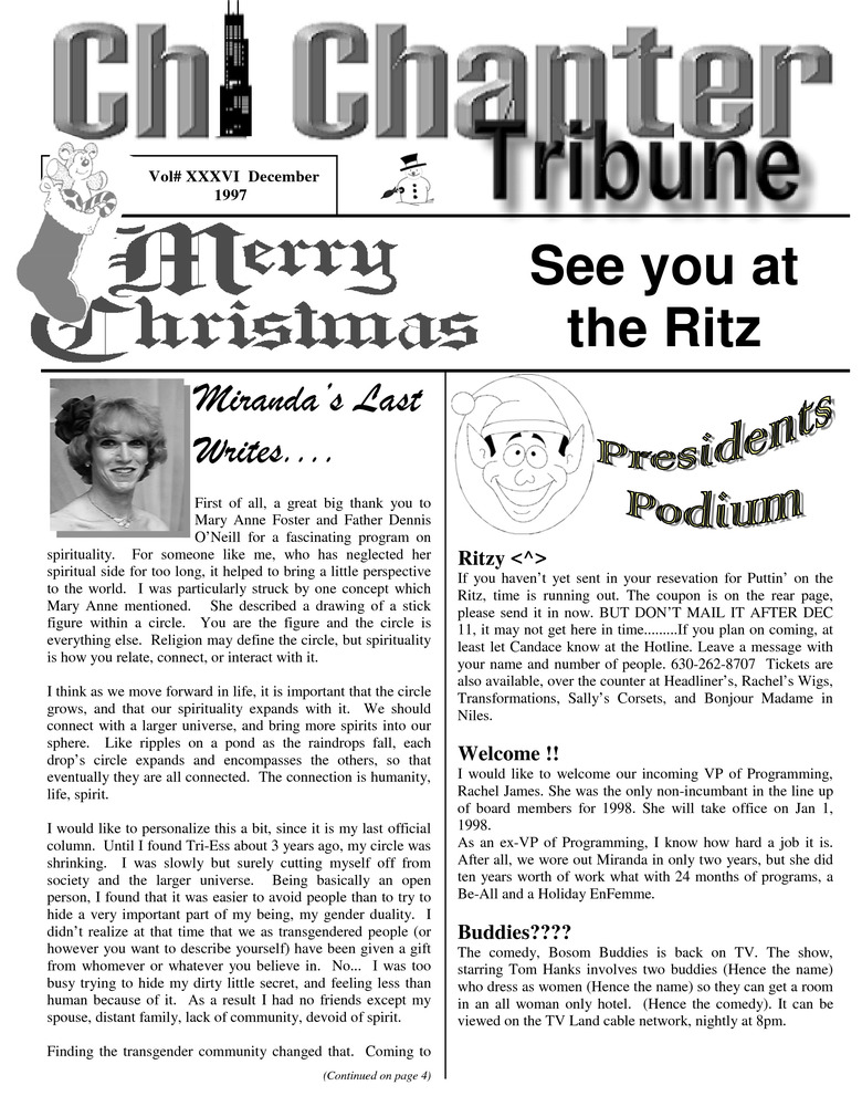 Download the full-sized PDF of Chi Chapter Tribune Vol. 36 Iss. 12 (December, 1997)