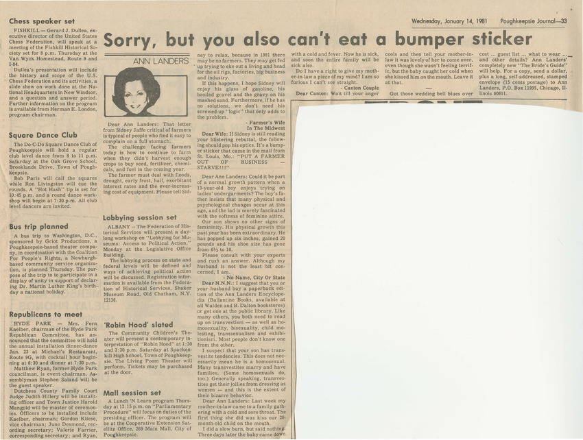 Download the full-sized PDF of Sorry, But You Also Can't Eat a Bumper Sticker (January 14, 1981)