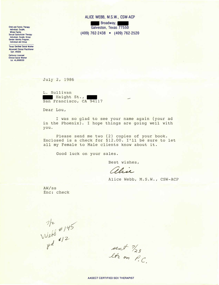 Download the full-sized PDF of Correspondence from Alice Webb to Lou Sullivan (July 1989)