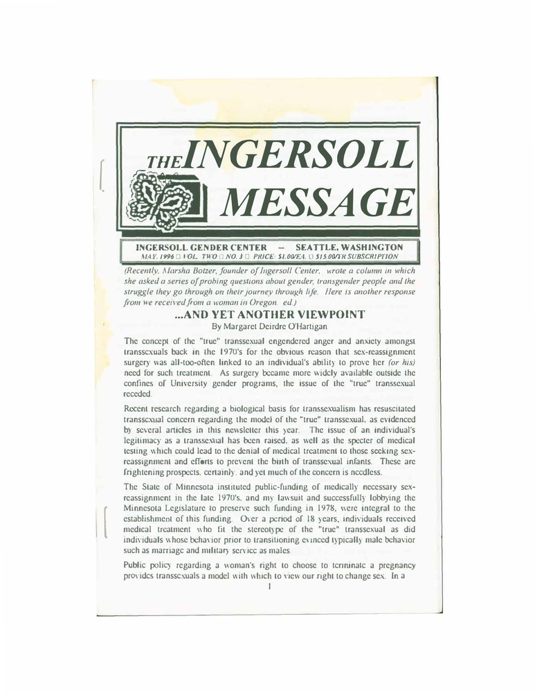 Download the full-sized PDF of The Ingersoll Message, Vol. 2 No. 3 (May, 1996)