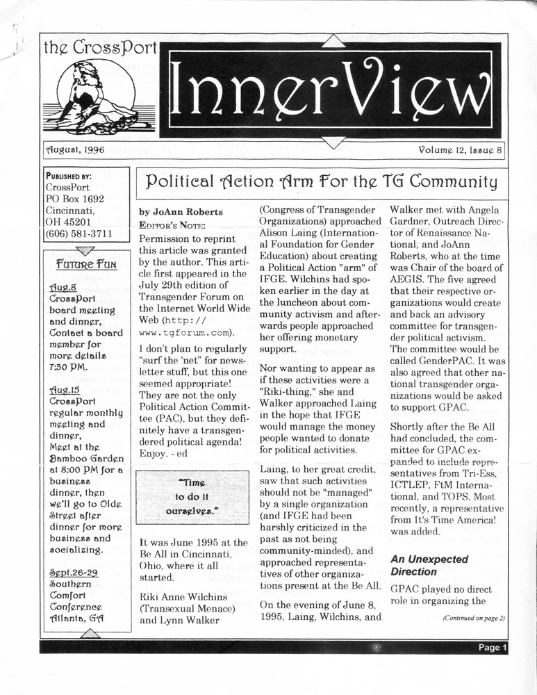 Download the full-sized PDF of Cross-Port InnerView, Vol. 12 No. 8 (August, 1996)