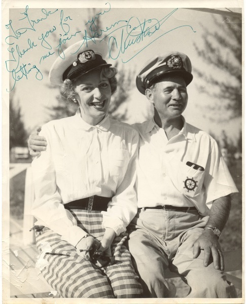 Download the full-sized image of Christine Jorgensen with Frank in Naval Attire