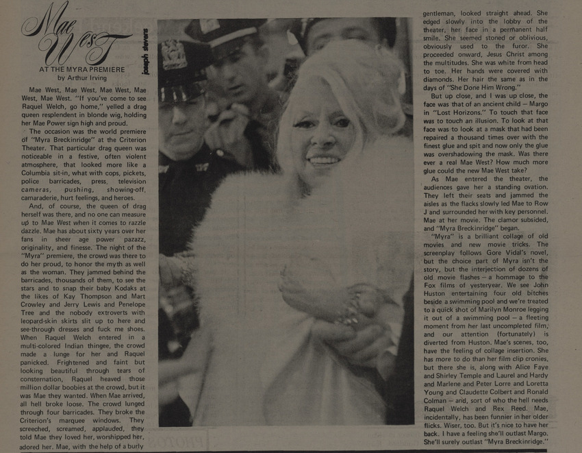 Download the full-sized image of Mae West at the Myra Premiere
