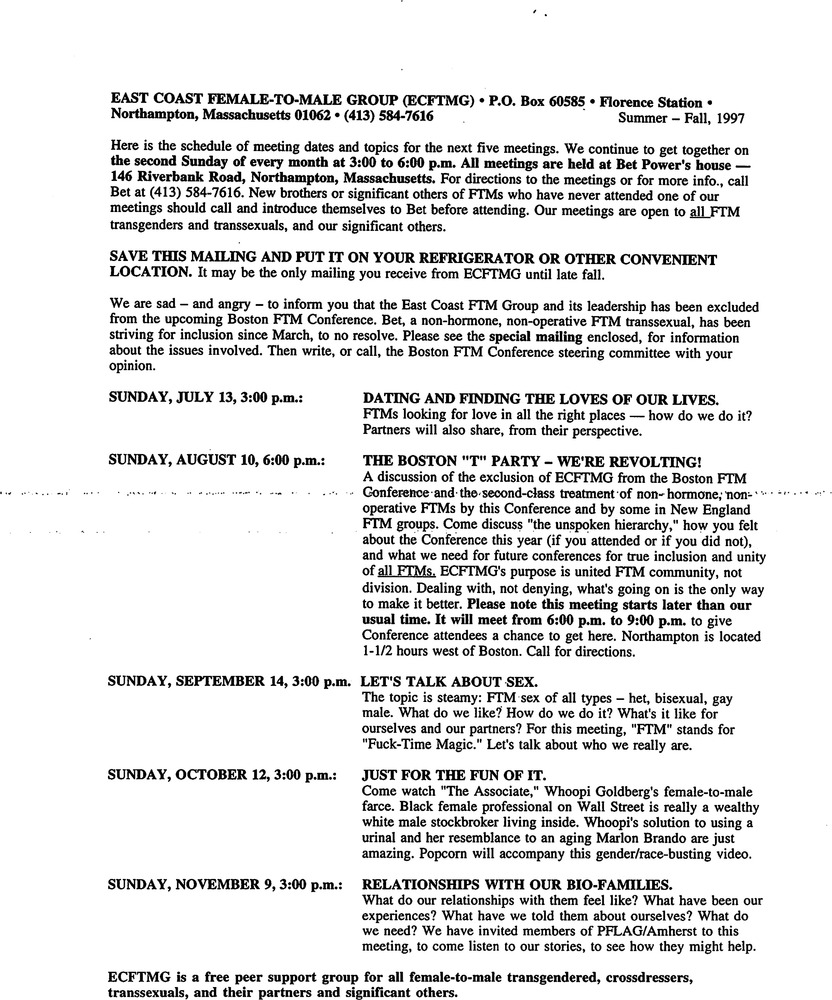 Download the full-sized PDF of July, 1997 - November, 1997 Meeting Reminder