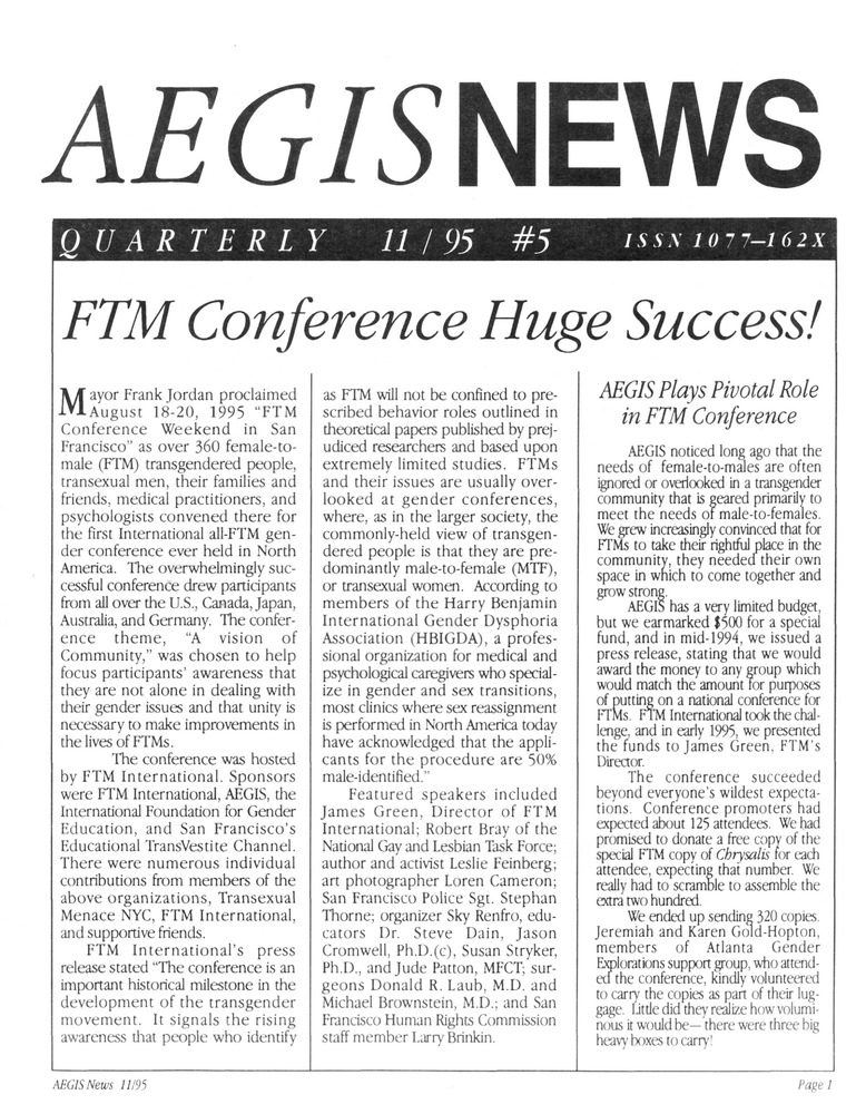 Download the full-sized PDF of AEGIS News, No. 5 (November, 1995)