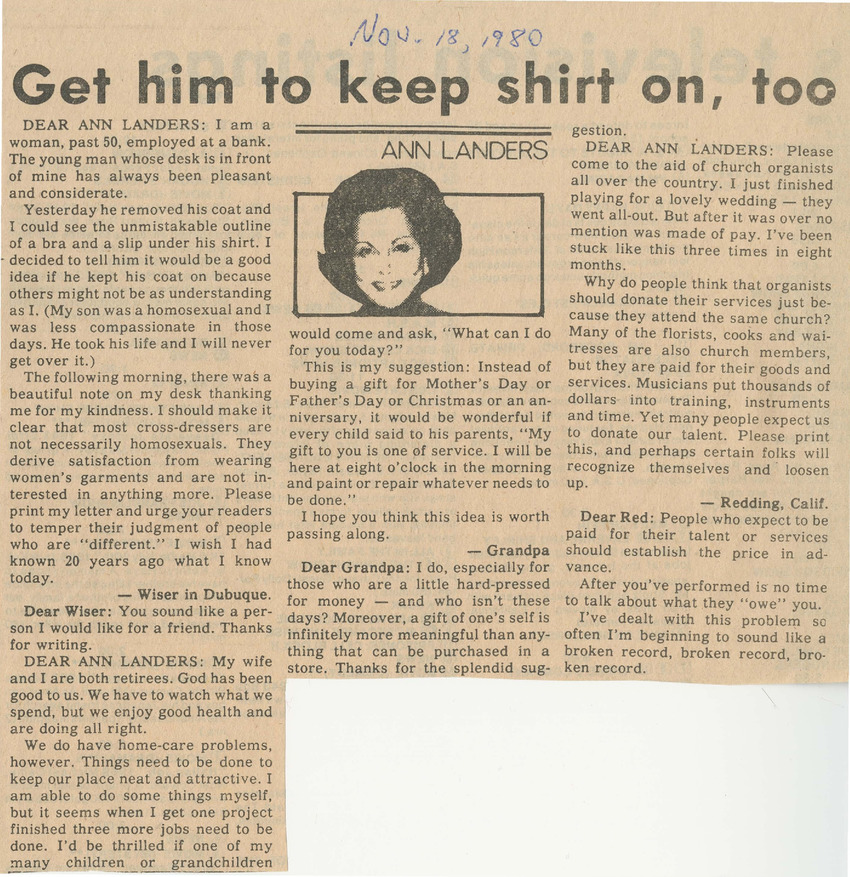 Download the full-sized PDF of Get Him to Keep Shirt on, Too (November 18, 1980)